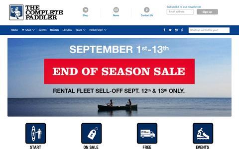 Screenshot of Home Page completepaddler.ca - Kayak & Canoe Sales Store Toronto    Kayak & Canoe Sales & Rentals   The Complete Paddler - captured Sept. 4, 2015