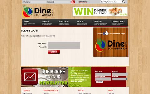 Screenshot of Login Page dinesouthafrica.com - Login - DineSouthAfrica.com :: South Africa's Premier Online Restaurant Guide - captured Oct. 5, 2014
