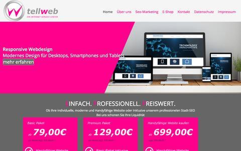 Screenshot of Home Page tellweb.de - Tellweb Internet-Service GmbH - Ihre Internetragentur in Düsseldorf - Responsive Webdesign - captured June 8, 2018