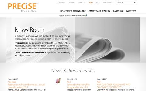 Screenshot of Press Page precisebiometrics.com - Press Room | Press Contact, Press Releases and Case Studies - captured May 19, 2017