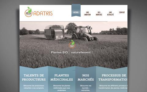 Screenshot of Home Page adatris.fr - cultiver les plantes médicinales de façon naturelle - Adatris - captured Nov. 20, 2016