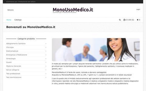 Screenshot of Home Page monousomedico.it - Il sito di e-commerce dedicato al monouso medico - captured Oct. 19, 2018