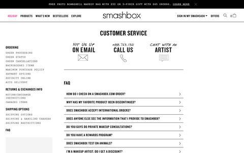 Screenshot of Support Page smashbox.com - Customer Service Landing Page | Smashbox - captured Nov. 30, 2016