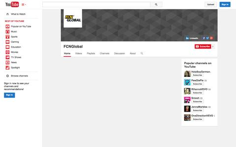 Screenshot of YouTube Page youtube.com - FCNGlobal  - YouTube - captured Oct. 23, 2014