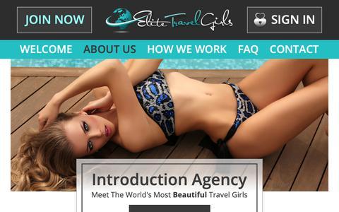 Screenshot of About Page elitetravelgirls.com - Wealth Meets Beauty - Elite Travel Girls Discreet Introduction Agency - captured Nov. 25, 2018