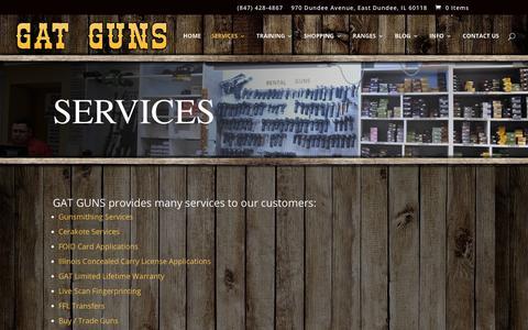 Screenshot of Services Page gatguns.com - Services | GAT Guns - captured Sept. 25, 2018