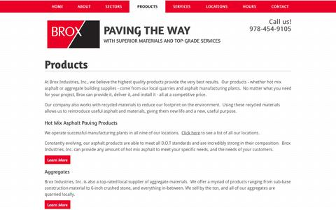 Screenshot of Products Page broxindustries.com - Paving and construction products, Massachusetts and New Hampshire | Brox Industries - captured June 23, 2016