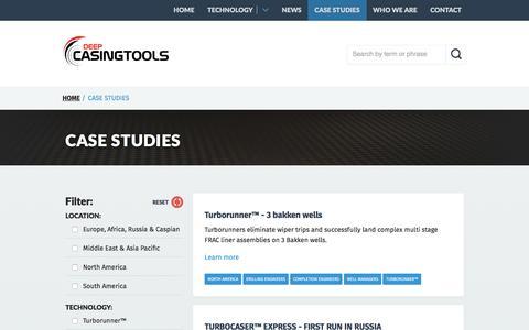 Screenshot of Case Studies Page deepcasingtools.com - Case Studies - captured July 4, 2016