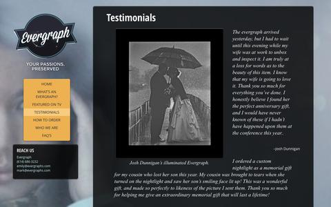Screenshot of Testimonials Page evergraphs.com - Testimonials - captured Oct. 3, 2014
