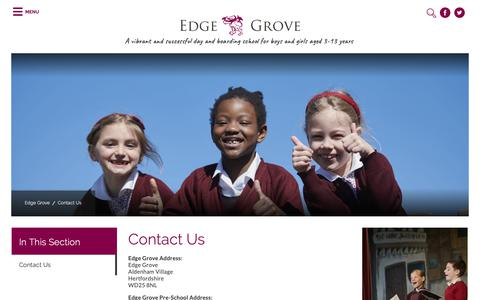Screenshot of Contact Page edgegrove.com - Contact Us | Independent School, Watford | Edge Grove - captured Sept. 27, 2018