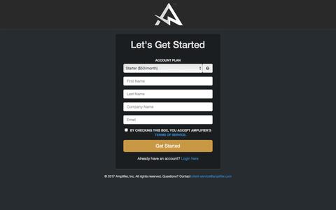 Screenshot of Signup Page amplifier.com - Amplifier - captured May 30, 2017