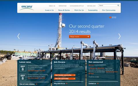 Screenshot of Home Page encana.com - Encana Corporation - captured Sept. 19, 2014