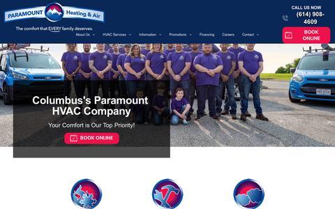 Screenshot of Home Page paramountair.net - Columbus Heating & Air Conditioning | Paramount Heating & Air - captured Feb. 16, 2020