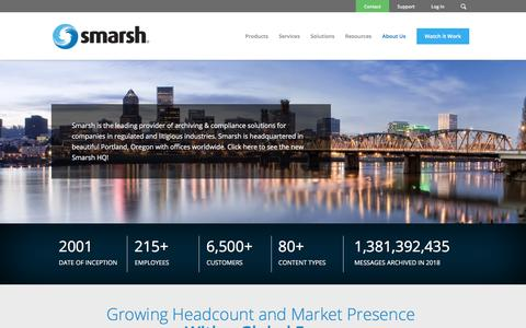 Screenshot of About Page smarsh.com - About Smarsh Inc. | About Smarsh | Smarsh - captured March 19, 2018