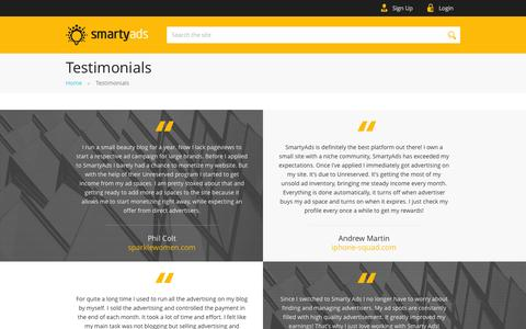 Screenshot of Testimonials Page smartyads.com - Testimonials | SmartyAds.com - captured Oct. 20, 2015