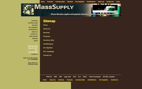 Screenshot of Site Map Page masssupply.com - Site Map : Fisher Scientific : Lab Chemicals : MassSupply.com - captured Oct. 27, 2014