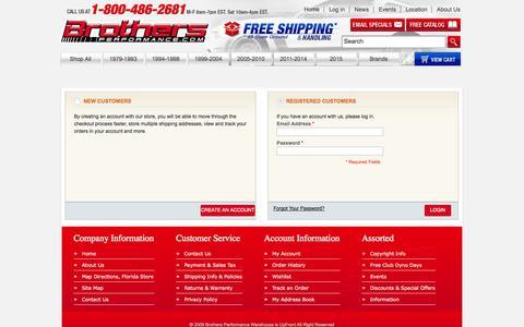 Screenshot of Login Page brothersperformance.com - Customer Login - captured Oct. 5, 2014