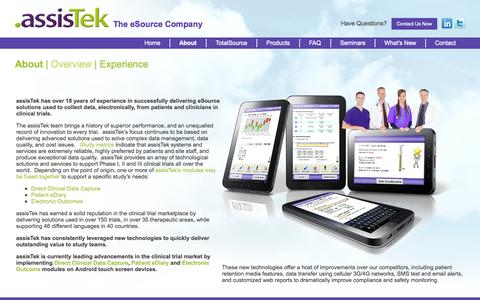 Screenshot of About Page assistek.com - About - Overview | eSource in Clinical Trials | Direct Clinical Data Capture | ePRO | eDiary | eSource | Mobile Patient Reported Outcomes | AssisTek - captured Sept. 30, 2014