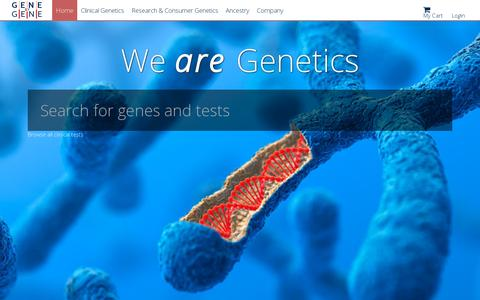 Screenshot of Home Page genebygene.com - Gene by Gene - captured July 17, 2014