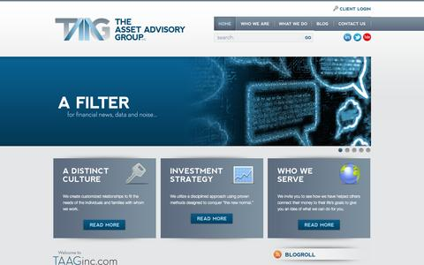 Screenshot of Home Page taaginc.com - The Asset Advisory Group | Providing financial guidance  to enhance the well-being  of individuals and families  since 1988. - captured Oct. 6, 2014