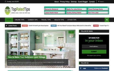 Screenshot of Home Page topratedtips.com - Top Rated Tips - captured June 19, 2017