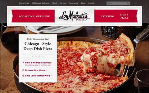 Screenshot of Home Page loumalnatis.com - Lou Malnati's, the Best Chicago-Style Deep Dish Pizza Restaurant - captured Sept. 24, 2014