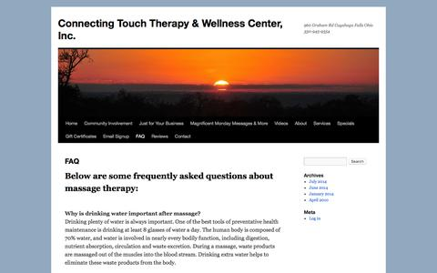 Screenshot of FAQ Page connectingtouch.com - FAQ | Connecting Touch Therapy & Wellness Center, Inc. - captured Jan. 30, 2016