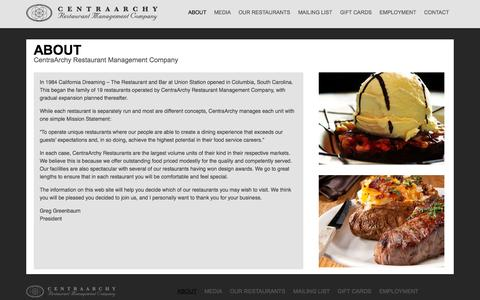 Screenshot of About Page centraarchy.com - About - CentraArchy | Restaurant Management Company - captured Oct. 2, 2014
