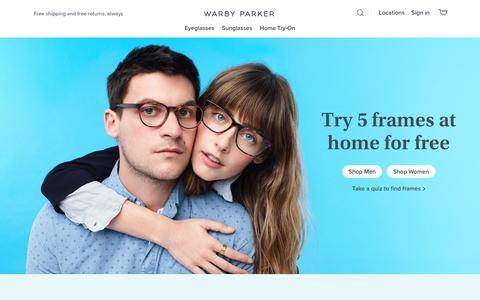 Screenshot of Home Page warbyparker.com - Glasses & Prescription Eyeglasses | Warby Parker - captured July 24, 2019