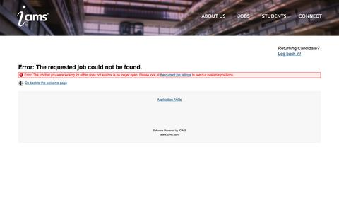 Careers Center - Error: The requested job could not be found.