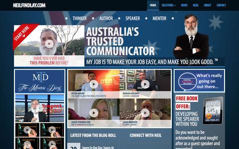 Screenshot of Home Page neilfindlay.com - NEILFINDLAY.COM – Thinker + Author + Orator + Mentor – Australia's Trusted Communicator - captured Sept. 5, 2015