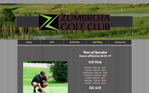 Screenshot of Hours Page zumbrotagolfclub.com - Zumbrota Golf Club | Hours of Operation - captured April 25, 2017