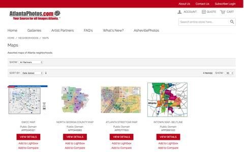 Screenshot of Maps & Directions Page atlantaphotos.com - Maps - Neighborhoods - captured Feb. 6, 2016