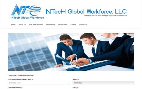 Screenshot of Contact Page ntekglobal.com - NTecH Global Workforce, LLC - captured Aug. 15, 2016