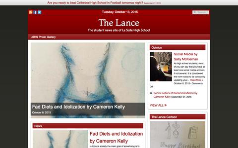 Screenshot of Home Page thelancelshs.org - The Lance : The student news site of La Salle High School - captured Oct. 13, 2015