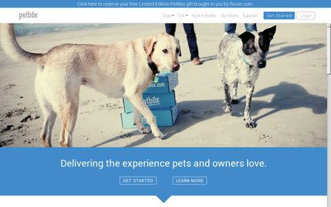 Screenshot of Home Page getpetbox.com - PetBox - Premium toys, treats, and accessories to pamper your dog or cat each month. - captured July 17, 2014
