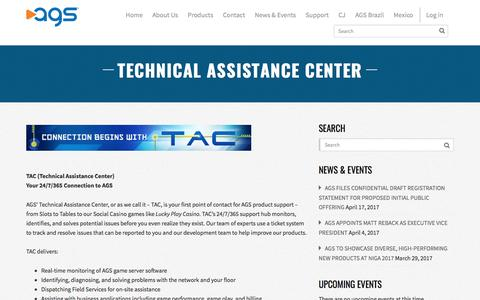 Screenshot of Support Page playags.com - Technical Assistance Center | AGS - captured May 4, 2017