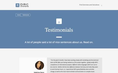 Screenshot of Testimonials Page drcsystems.com - Testimonials | DRC Systems - captured Sept. 24, 2014