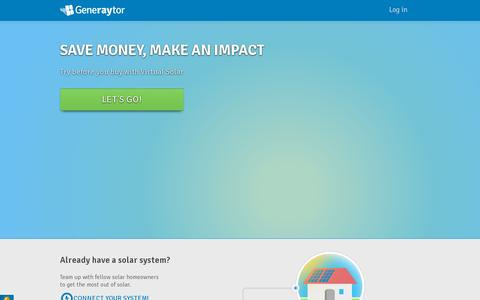 Screenshot of Home Page Login Page generaytor.com - Generaytor   a powerful community that helps you go solar - captured July 17, 2014