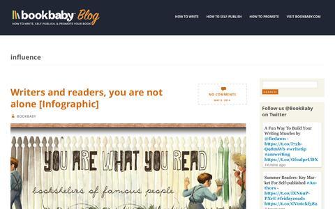 Screenshot of Blog bookbaby.com - influence | BookBaby Blog - captured Feb. 27, 2017