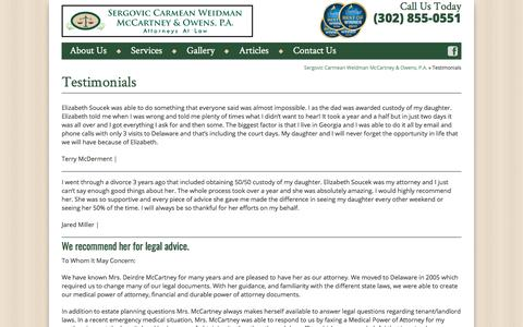 Screenshot of Testimonials Page sussexattorney.com - Testimonials | Sussex County DE Lawyers | Civil Law | Family Law - captured Oct. 22, 2017