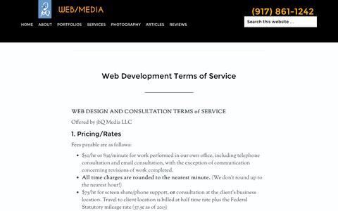 Screenshot of Terms Page jbq.net - Web Development Terms of Service - jbQ Media - captured Feb. 12, 2016