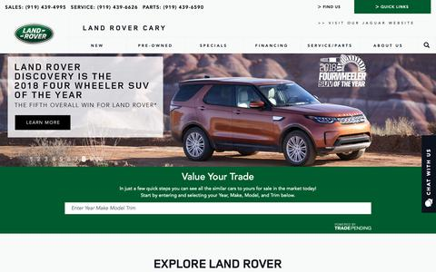 Screenshot of Home Page landrovercary.com - Land Rover Dealership Cary NC Used Cars Land Rover Cary - captured Sept. 28, 2018
