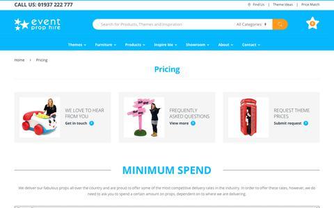 Screenshot of Pricing Page eventprophire.com - Pricing   Price Match   Discounts   Minimum Spend   Event Prop Hire - captured Nov. 5, 2018