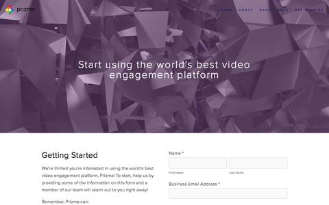 Screenshot of Contact Page prizma.ai - Get Started — Prizma | Video Engagement Platform - captured July 8, 2018