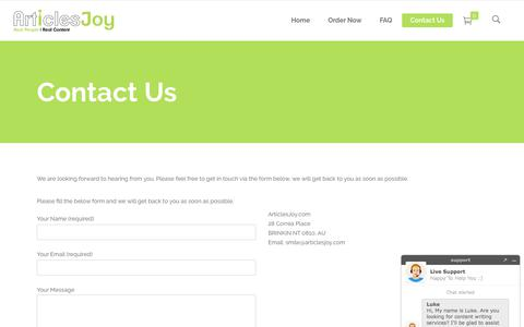 Screenshot of Contact Page articlesjoy.com - Contact Us | High Quality Content Writing Services - captured July 8, 2018