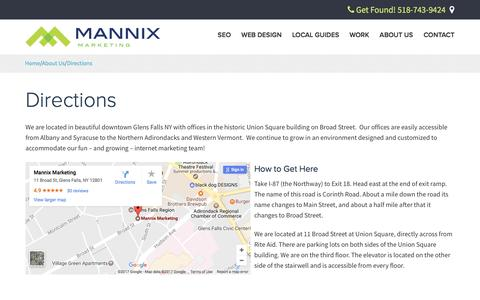 Screenshot of Maps & Directions Page mannixmarketing.com - Directions to Mannix Marketing in Glens Falls NY, a Digital Marketing Agency - captured May 26, 2017