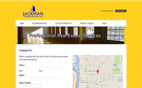 Screenshot of Contact Page jackmanrealty.com - Contact Us - JACKMAN Commercial Realty, Inc. - captured Oct. 1, 2014