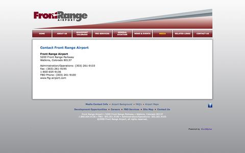 Screenshot of Press Page ftg-airport.com - Front Range Airport - Media Contact - captured Oct. 6, 2014
