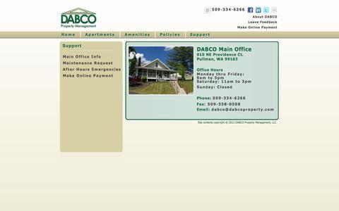 Screenshot of Support Page dabcomgmt.com - Dabco Property Management -| Pullman & WSU Apartment Rentals - Support - captured Oct. 5, 2014